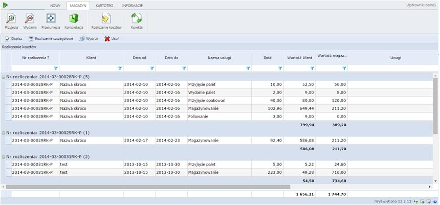 WAPRO WMS - lista ozliczania kosztów
